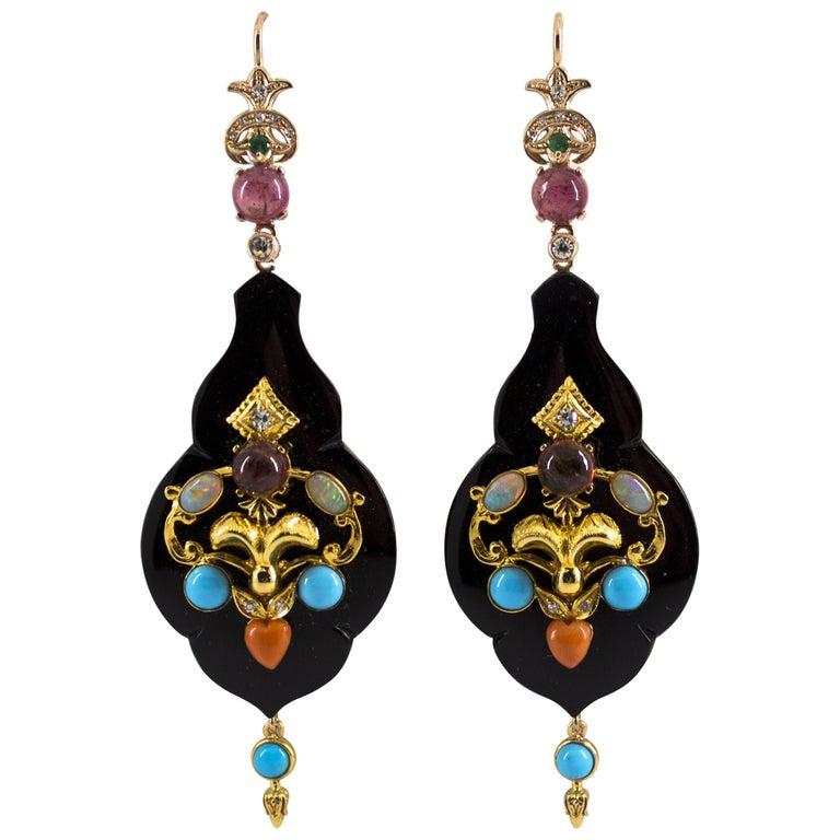 White Diamond Emerald Opal Tourmaline Turquoise Coral Onyx Yellow Gold Earrings