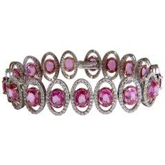 27.47ct natural Vivid Pink Sapphire diamond bracelet 14kt g/vs pink halo prime