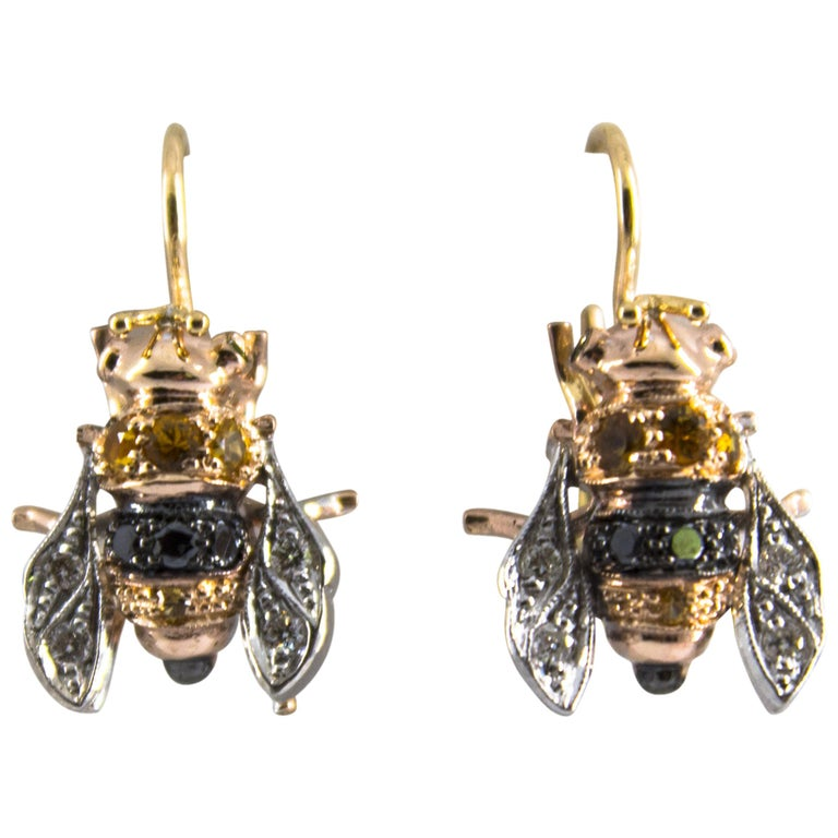 "0.35 Carat Sapphire 0.30 Carat Diamond Yellow Gold Lever-Back ""Bees"" Earrings"