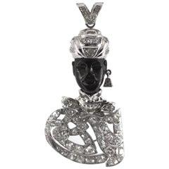 "7.20 Carat White Diamond Ebony Platinum White Gold ""Moor of Venice"" Pendant"