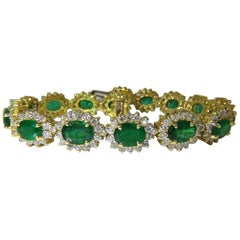 22.50 Carat Natural Emeralds Diamonds Bracelet 18 Karat G/VS Zambian Vivid
