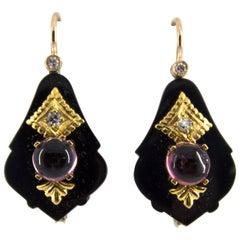 2.00 Carat Tourmaline White Diamond Onyx Yellow Gold Lever-Back Earrings