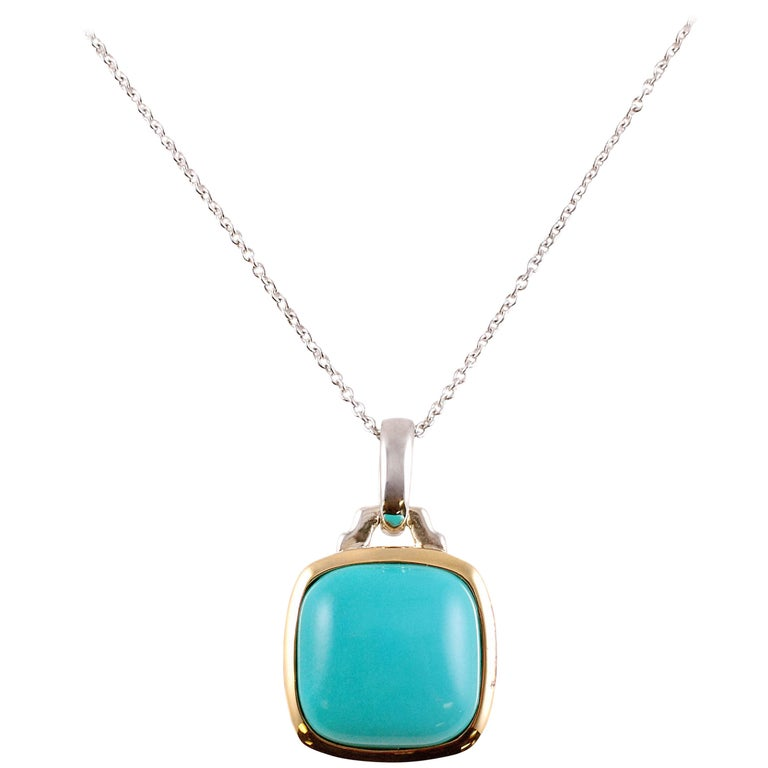 """""""Lorenzo"""" Turquoise Yellow Gold Sterling Silver Pendant and Chain"""