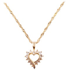 Diamond Yellow Gold Heart Pendant and Chain