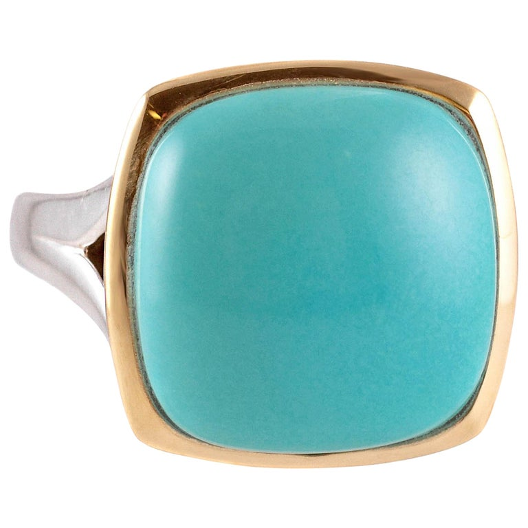 """Lorenzo"" Turquoise Yellow Gold Sterling Silver Ring"