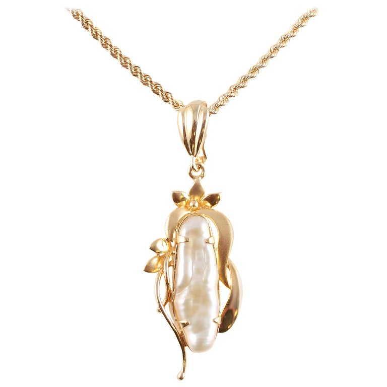 Freshwater Pearl Yellow Gold Pendant and Chain