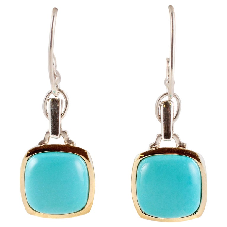 """""""Lorenzo"""" Turquoise Yellow Gold Sterling Silver Earrings"""