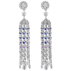 Blue Sapphire and Diamond Tassle Earrings