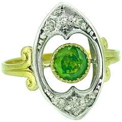 Antique Demantoid Garnet, Diamond Ring .60 Carat 18 Karat Yellow Gold and Silver