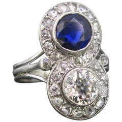 Art Deco Diamonds Sapphire Toi et Moi Crossover Platinum Ring
