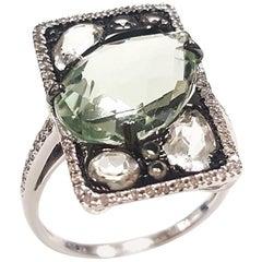 Ladies 14 Karat White Gold Green Amethyst and Diamond Ring