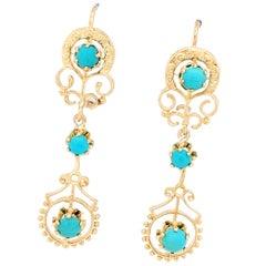 14 Karat Yellow Gold Turquoise Dangle Earrings 6.7 Grams