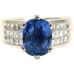 GIA Certified 5.52 Carat Natural Cornflower Blue Sapphire Diamonds Ring Platinum