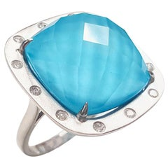 14 Karat White Gold Square Cushion Turquoise Doublet and Diamond Ring