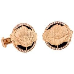 18 Karat Rose Gold, Diamond, Black Enamel Poppy Cufflinks