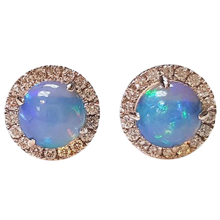 Ladies 14 Karat White Gold Opal and Diamonds Stud Earring