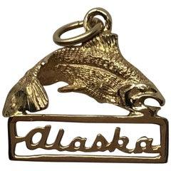 Vintage 14 Karat Gold Alaska Salmon Pendent Charm