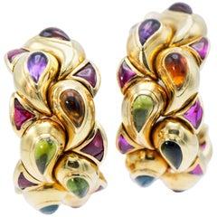 Chopard 18 Karat Yellow Gold Multicolored Gemstone Large Earring