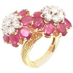 Emis Beros 18 Karat Ruby and Diamond Double Cluster Flower Ring