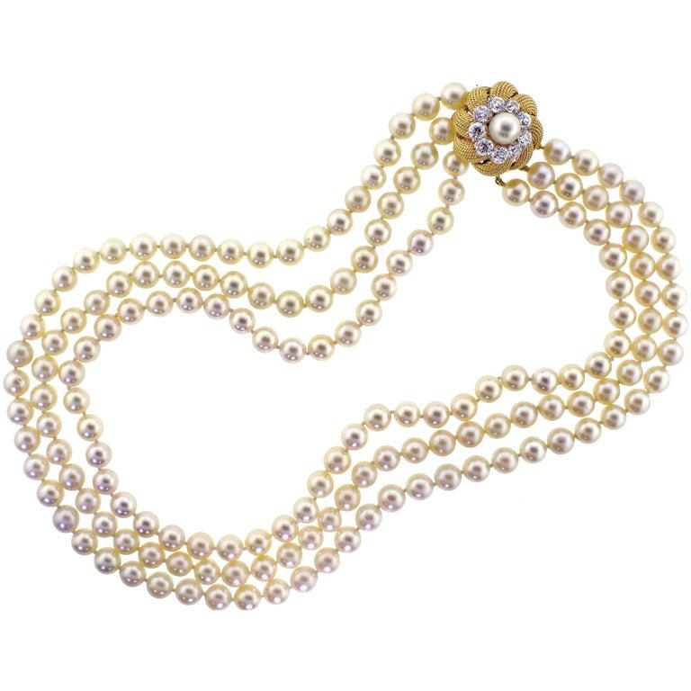 David Webb Pearl and Diamond Necklace