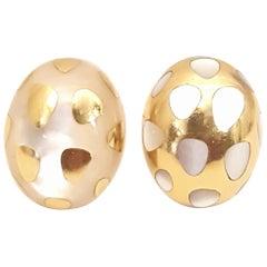 Tiffany & Co. 18 Karat Mother-of-Pearl Positive Negative Clip Earrings