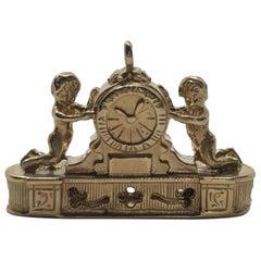 Vintage 14 Karat Gold Ornate Cherub Mantel Clock Pendent Charm