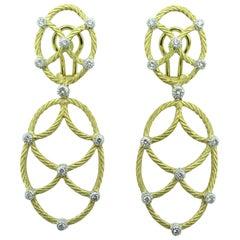 Buccellati Gold and Diamond Drop Earrings