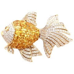 18 Karat Yellow Sapphire and Diamond Fish Brooch