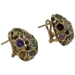 18 Karat Yellow Gold Clip-On Earrings with Precious Stones