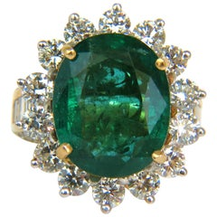 GIA Certified 12.97 Carat Natural Emerald Diamonds Ring