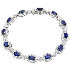 6.56 Carat Sapphire 3.22 Carat Diamond Bracelet