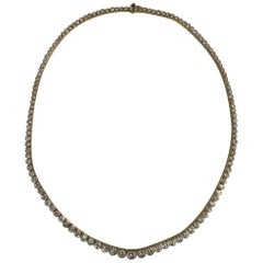 Oscar Heyman 18 Karat Yellow Gold Graduating Prong Set Diamond Necklace