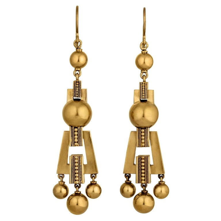 Victorian Etruscan Style Gold Earrings For Sale