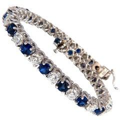 14.35ct natural Vivid royal blue round sapphires diamond bracelet 14kt tennis