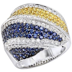 3.50 Carat Sapphire 1.50 Carat Diamond Cocktail Ring