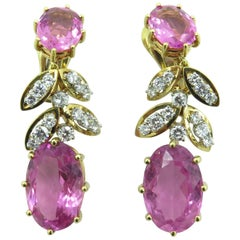 David Webb Pink Tourmaline, Platinum and Diamond Drop Earrings
