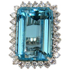 "GIA Certified 33.85ct Natural ""Blue"" Aquamarine & 1.50ct diamonds ring cocktail"