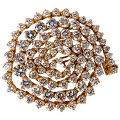 15.00 Carat Natural Round Diamonds Tennis Necklace 14 Karat Classic Riviera G/VS