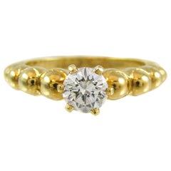 Fred Paris 18 Karat Yellow Gold Diamond Solitaire Ring