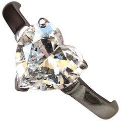 Tiffany & Co. Ladies Platinum 1.51 ct Heart E VVS2 Diamond Ring Box and Papers