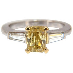 GIA Certified 2.12 Carat Fancy Yellow Radiant Cut Diamond Ring 14 Karat