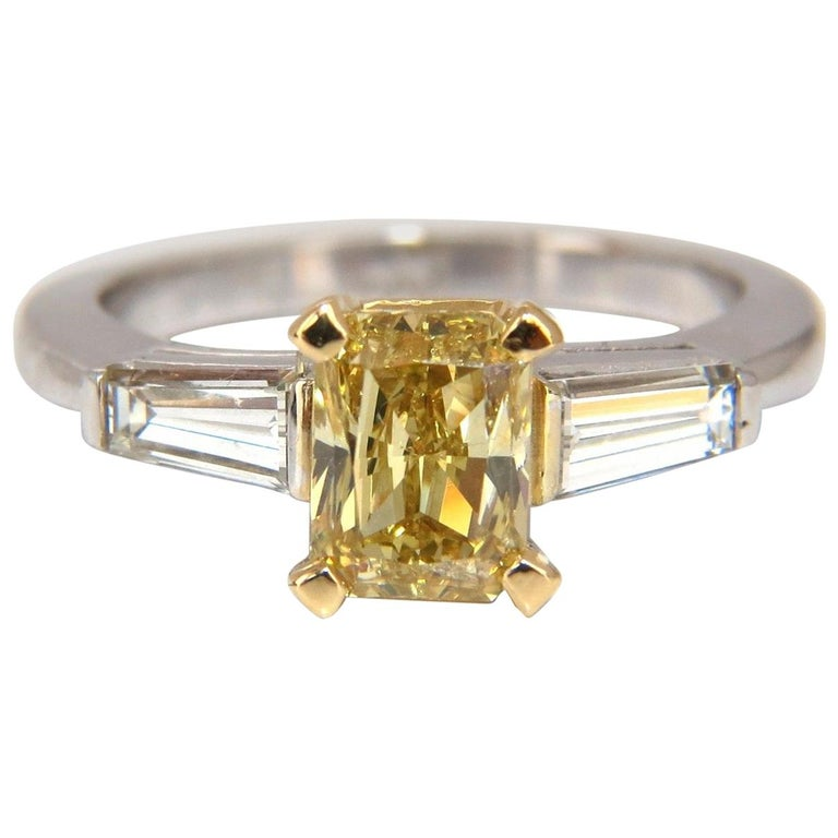 GIA Certified 2.12 Carat Fancy Yellow Radiant Cut Diamond Ring 14 Karat For Sale