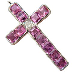 18 Karat GIA 10.41 Carat Natural Pink Sapphire Diamond Cross Pendant Necklace