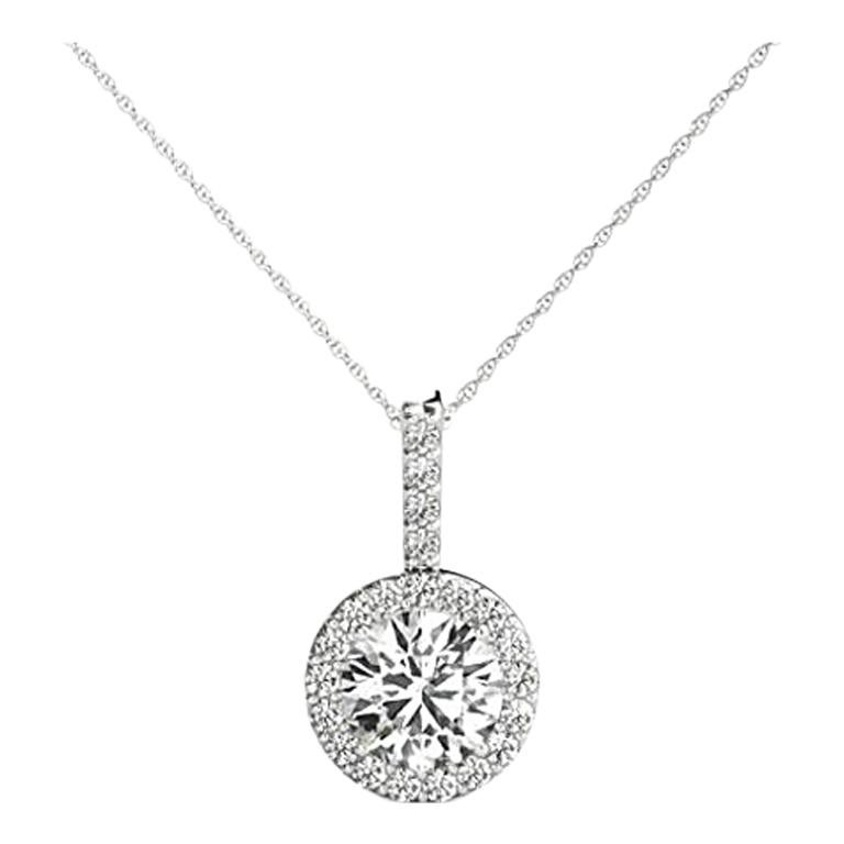 0.50 Carat Round Brilliant Cut Diamond Halo Pendant in 14 Karat White Gold
