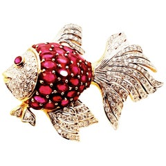 18 Karat Ruby and Diamond Fish Brooch
