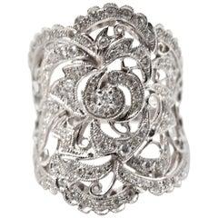 0.70 Carat Diamond 18 Karat White Gold Vintage Wide Ring