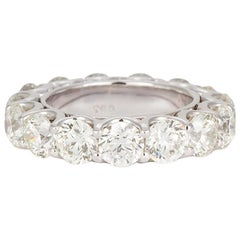 18 Karat White Gold Diamond Eternity Wedding Band 6.00 Carat