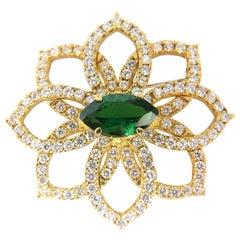 GIA 7.63 Carat Natural Vivid Green Marquise Tsavorite Diamonds Brooch Pin
