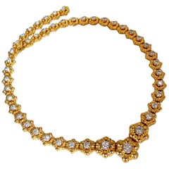 11.50 Carat Natural Diamonds Eternity Raised Dome Floral Flush Mount Necklace