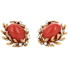 David Webb Coral Diamond and Gold Earclips, circa 1960s-1970s